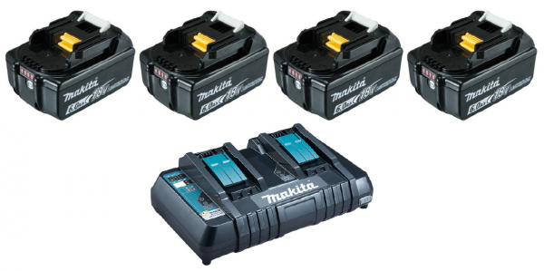 Makita Power Source Kit 4x BL1860B 18V / 6,0Ah + DC18RD 2-Fach Ladegerät